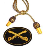 Officers Black & Gold Hat Cord And Sewn Cavalry Badge